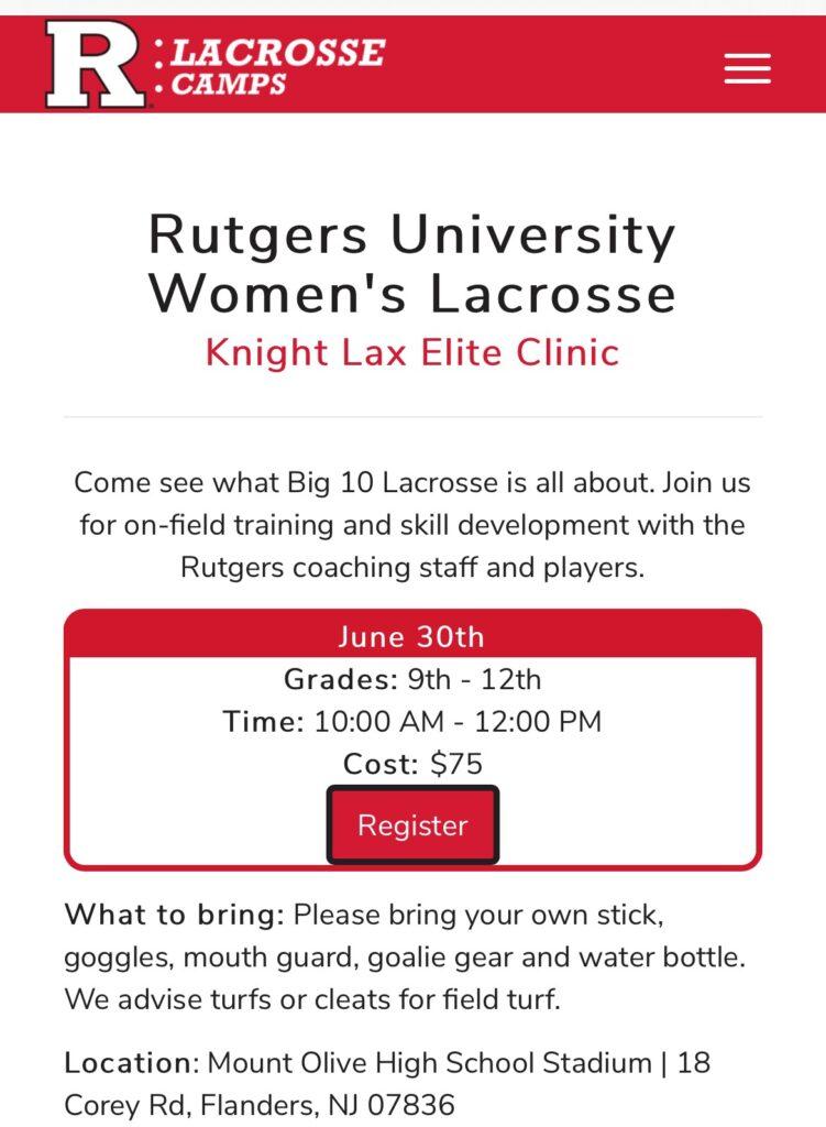 Rutgers Knight lax elite clinic