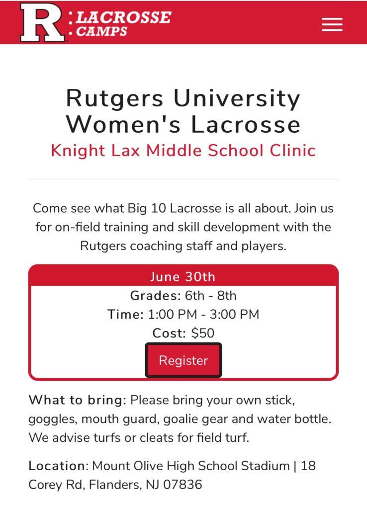 Rutgers Knight lax middle school clinic
